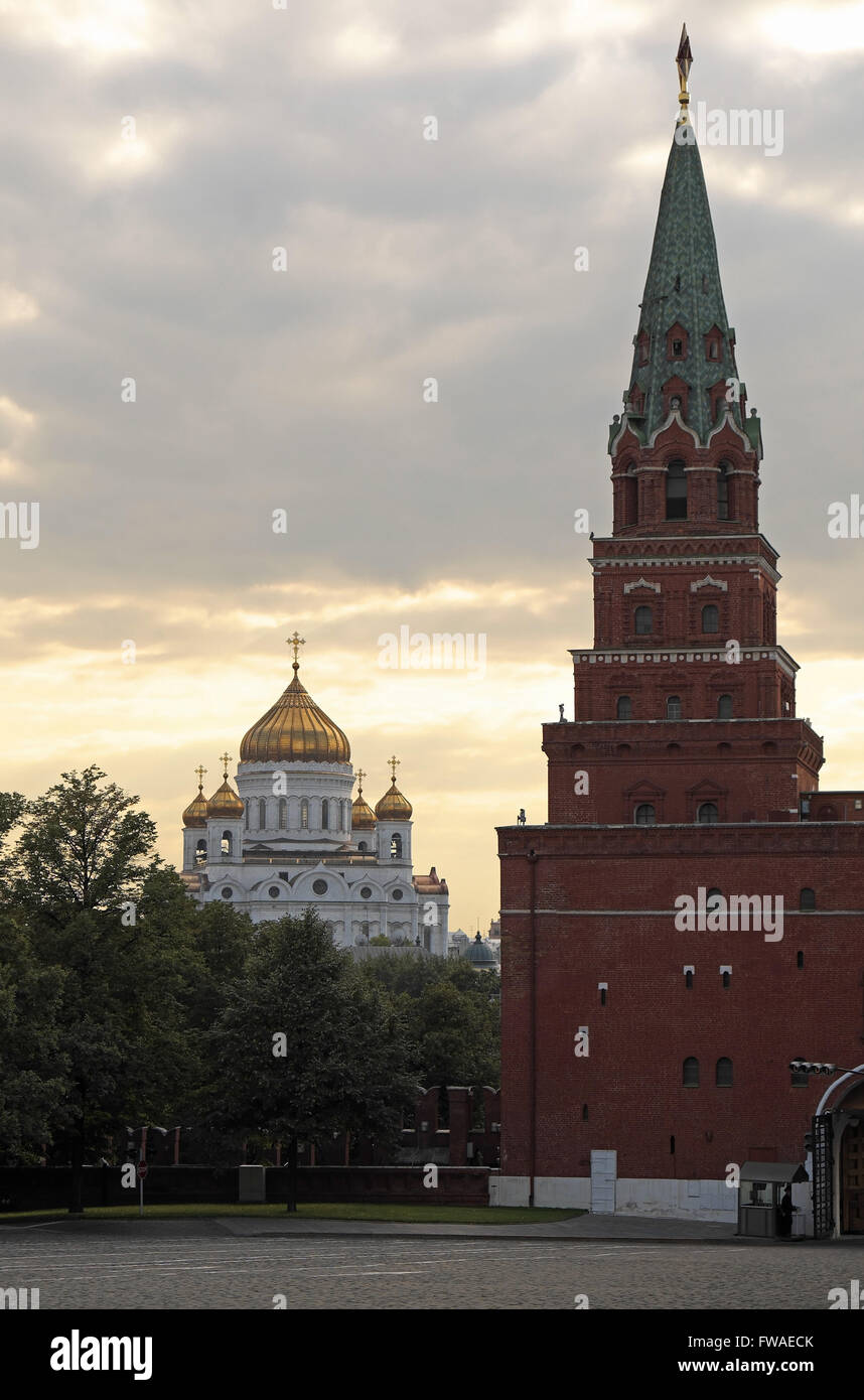 Golden dome of Cathedral of Christ the Saviour seen from the Kremlin, with the Tsar's Tower in the foreground, Moscow, Stock Photo
