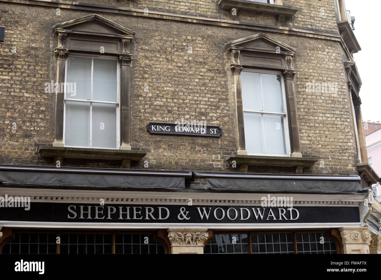 Shepherd and Woodward gowns shop, King Edward Street, Oxford city centre, UK - Stock Image