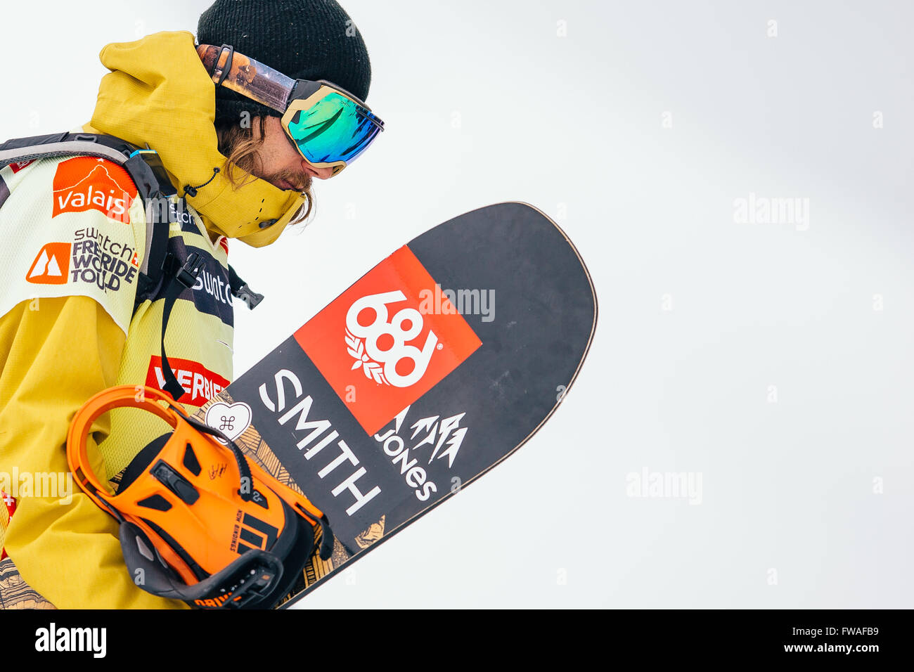 VERBIER, Switzerland: April, 2, 2016 Snowboard World Freeride Champion Sammy Luebke of the USA. - Stock Image
