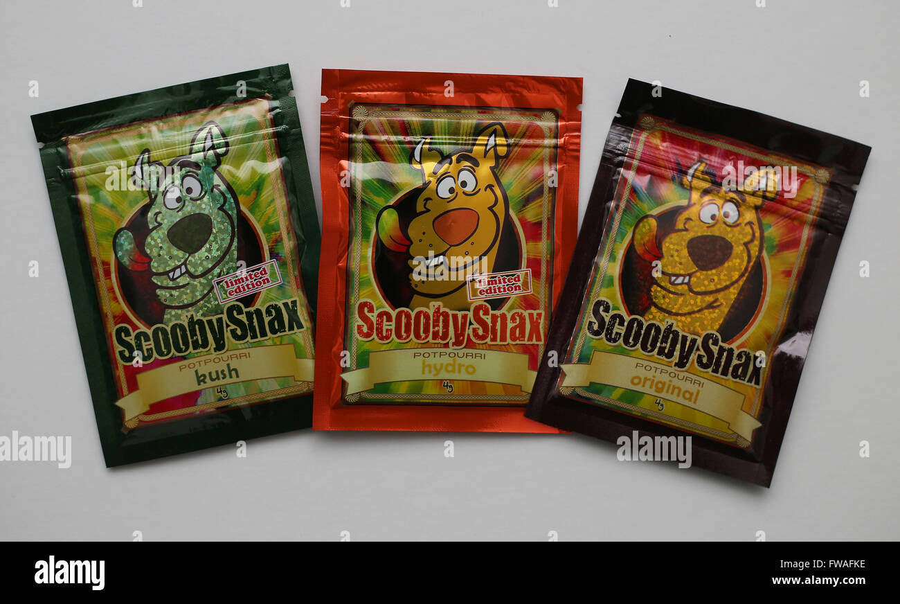 Scooby Snax potpourri. Kush, Hydro and Original - legal herbal high spice. - Stock Image