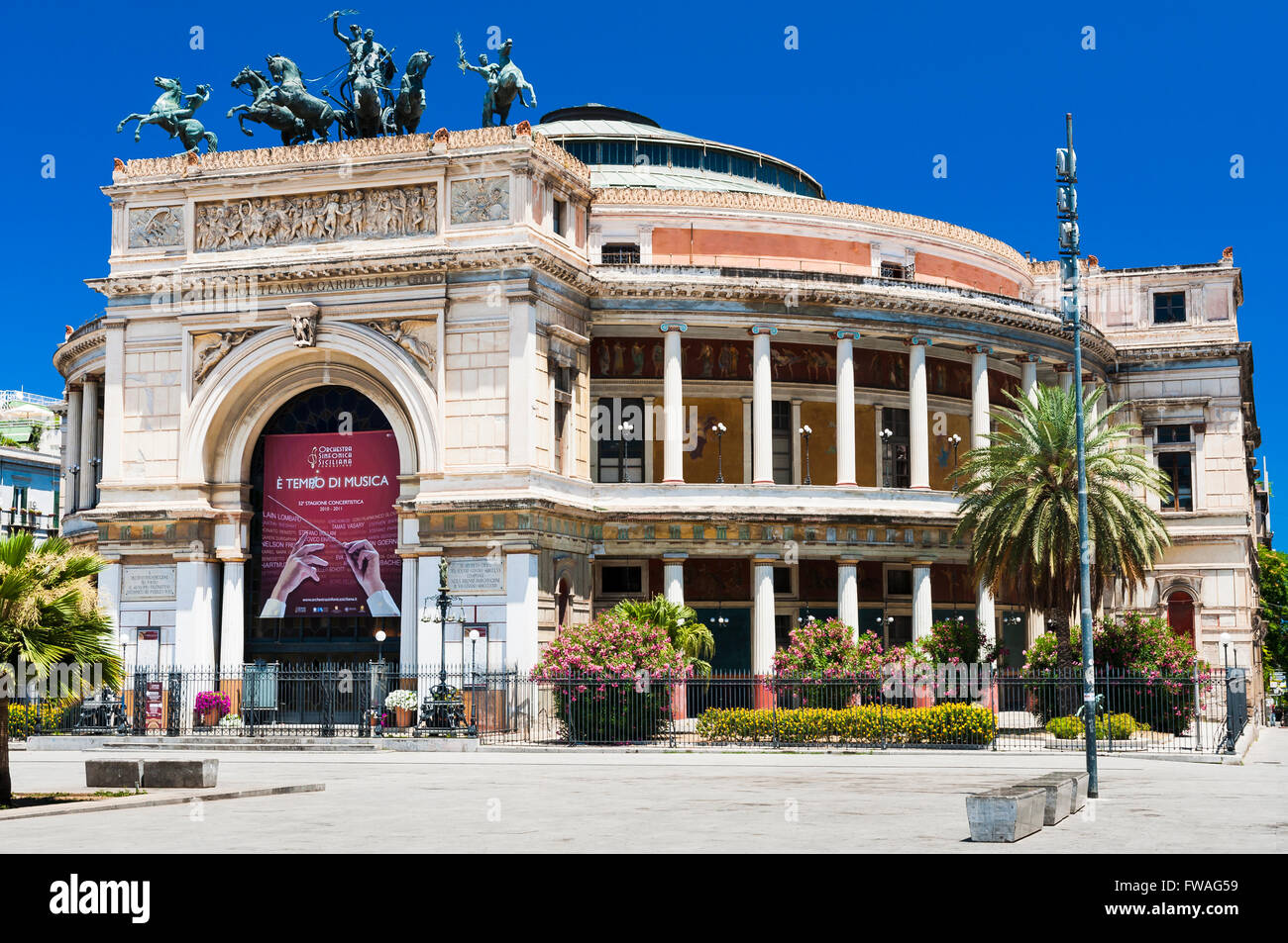 Politeama Theatre. Palermo, Sicily, Italy. Stock Photo