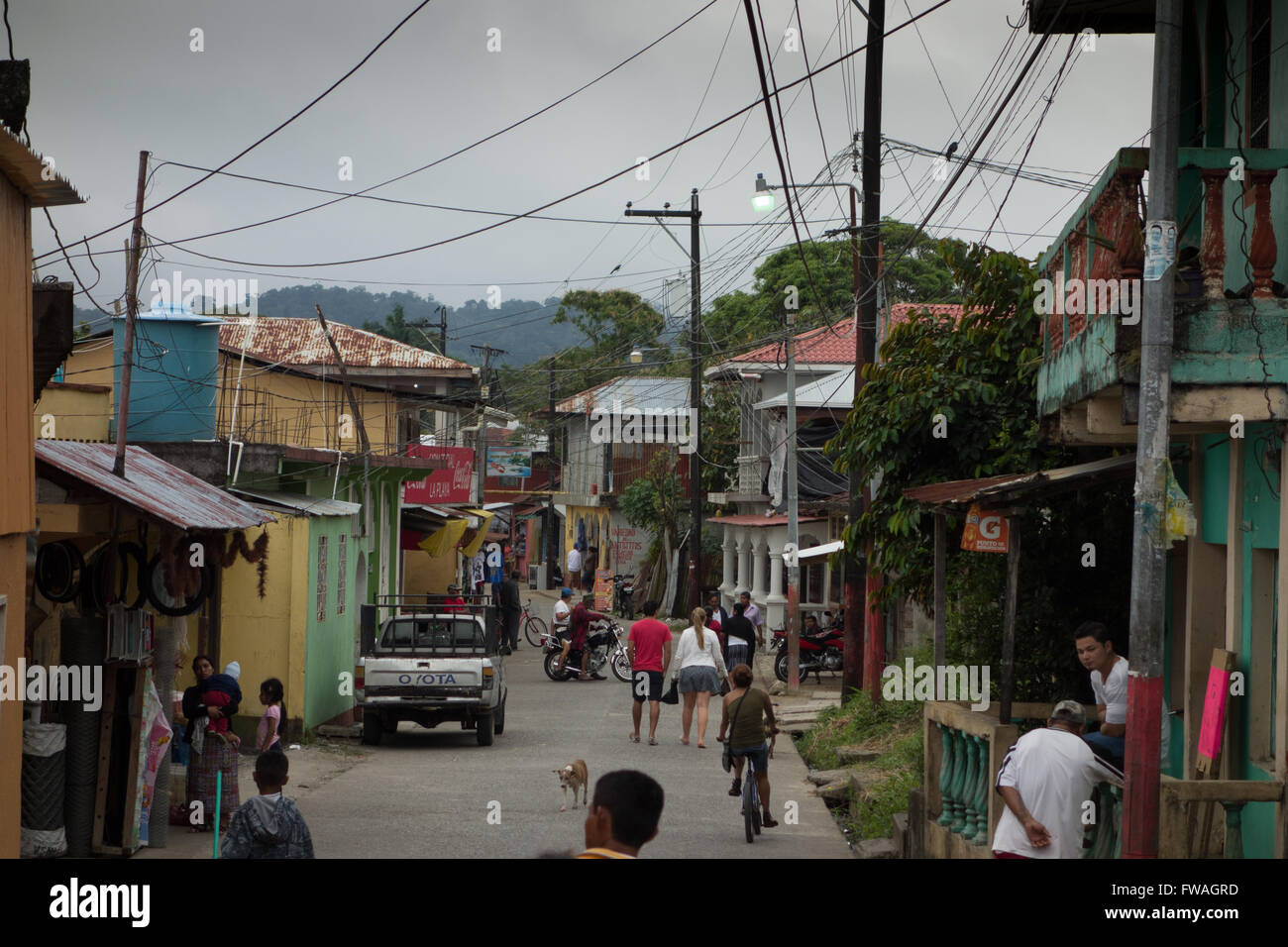 Livingston street view, Guatemala - Stock Image