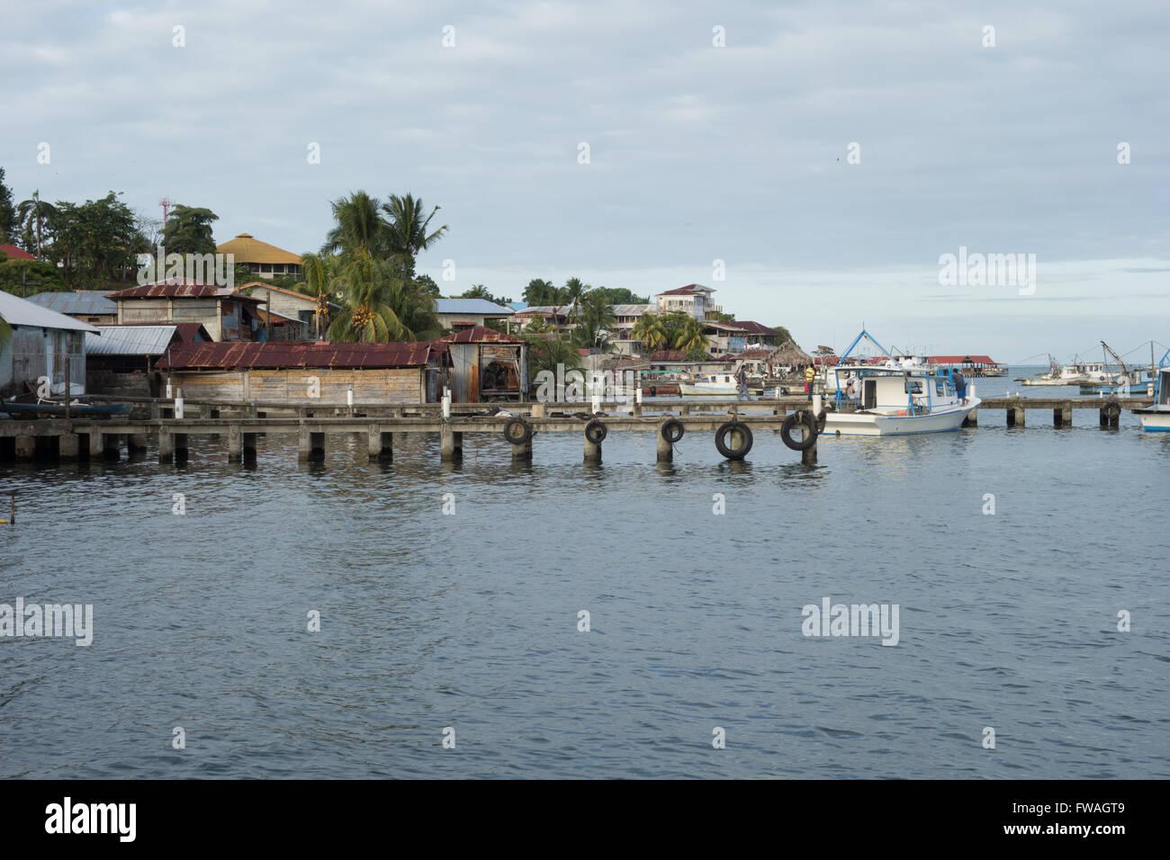 Livingston waterfront, Guatemala - Stock Image
