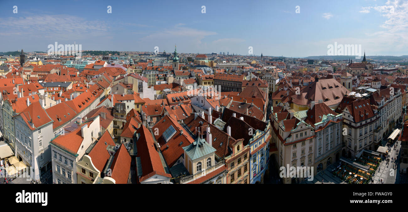 high resolution panorama of Prague old town buildings - Stock Image