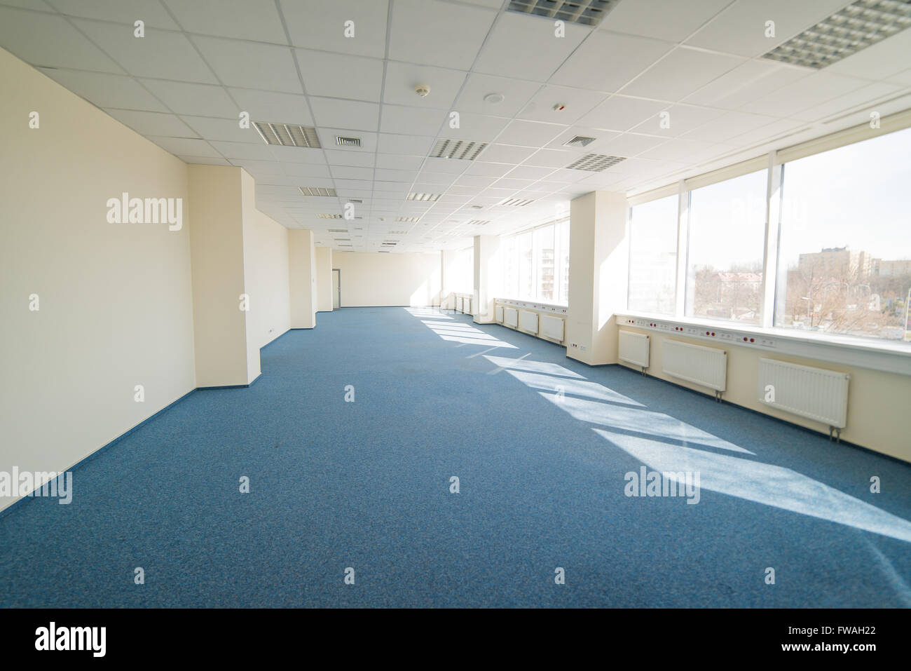 office - openspace - huge glass space-story building - Stock Image