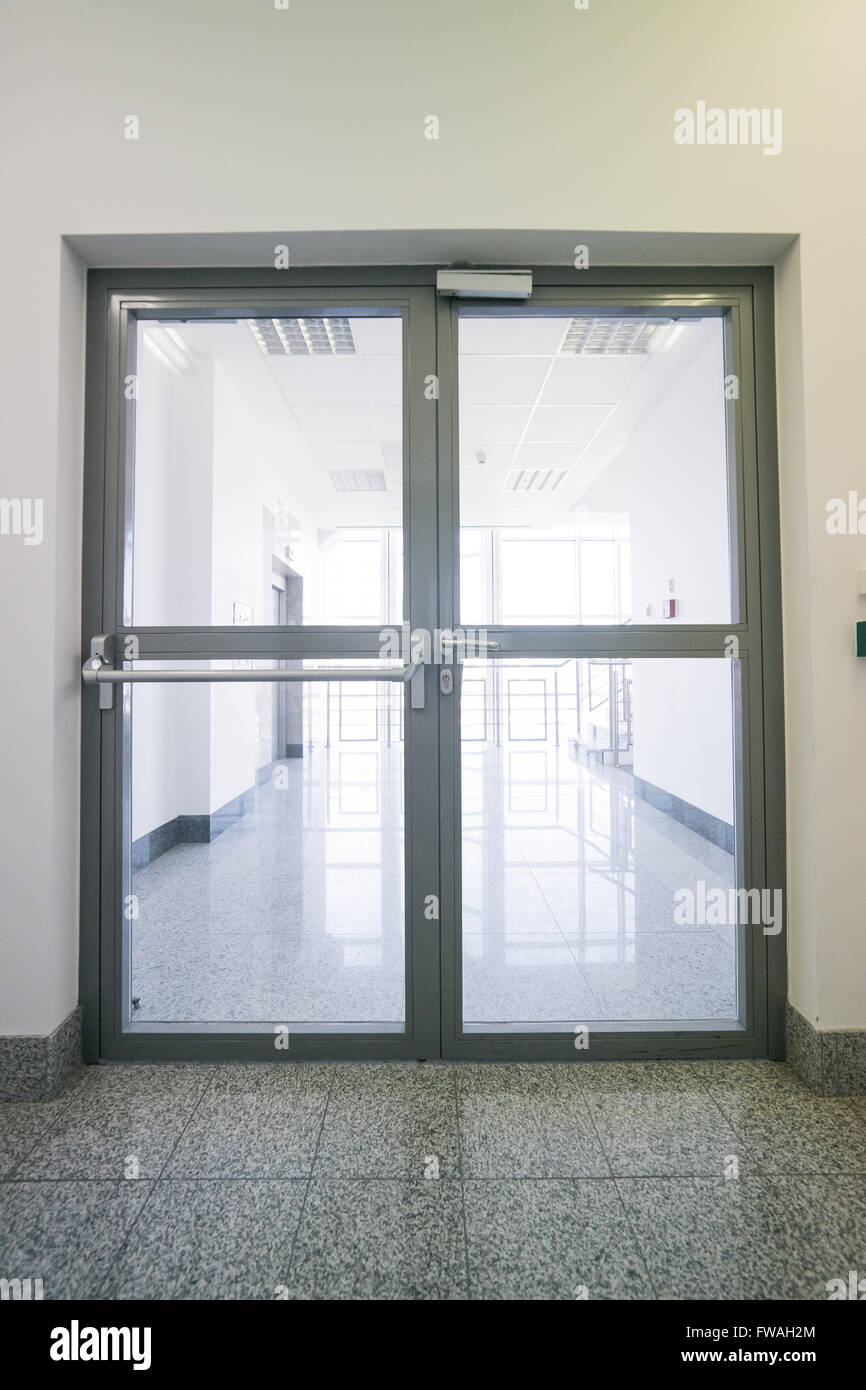 large, double, glazed fire doors Stock Photo