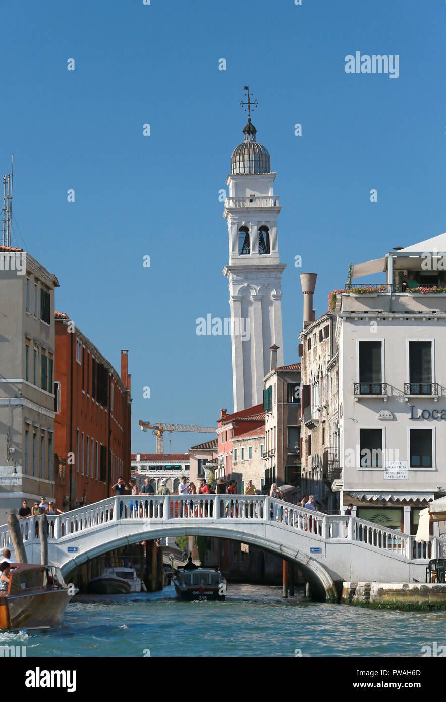 Ponte del la Pieta and Hellenic Institute belltower, Venice, Italy. - Stock Image