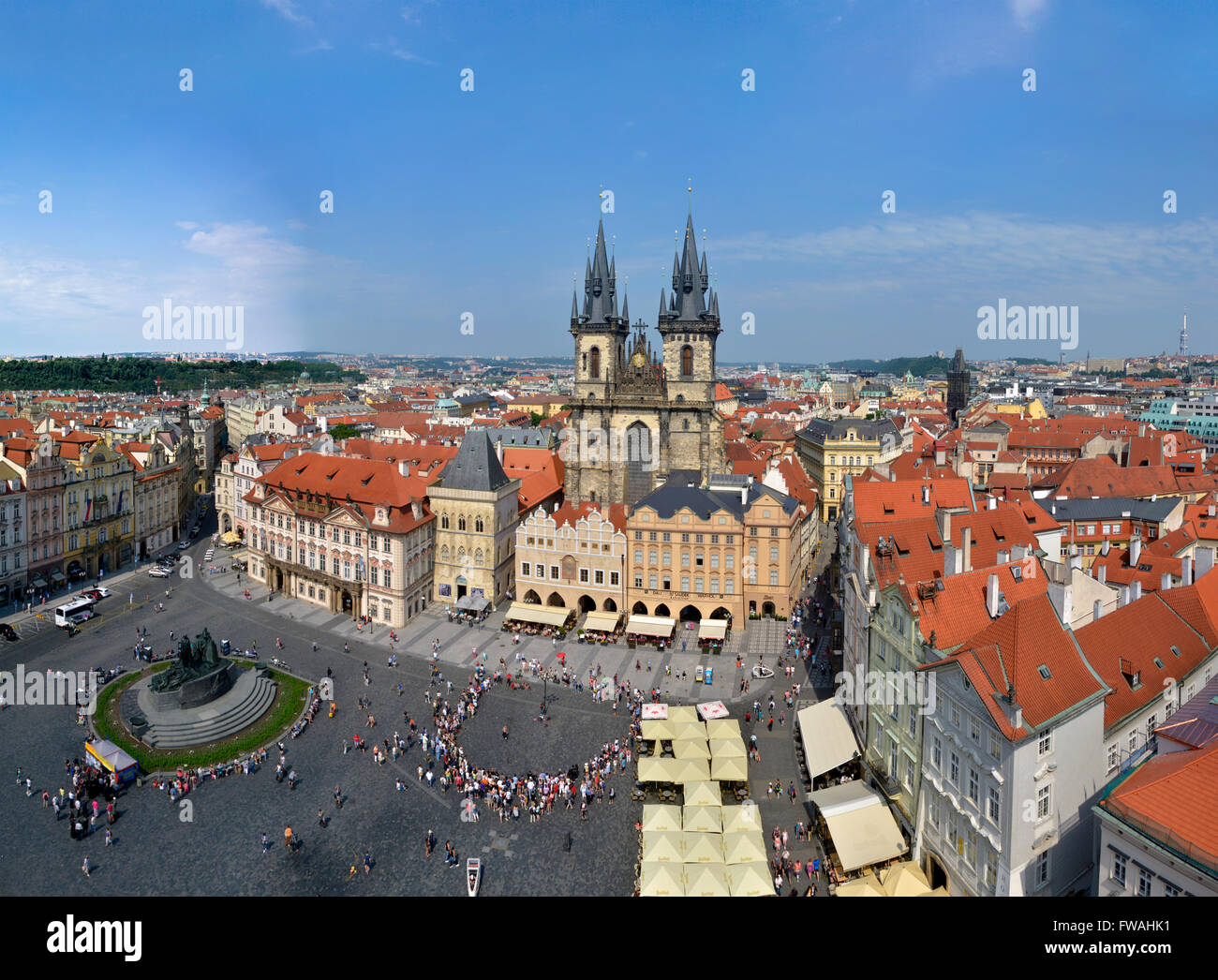 high resolution panorama of Prague Square - Stock Image