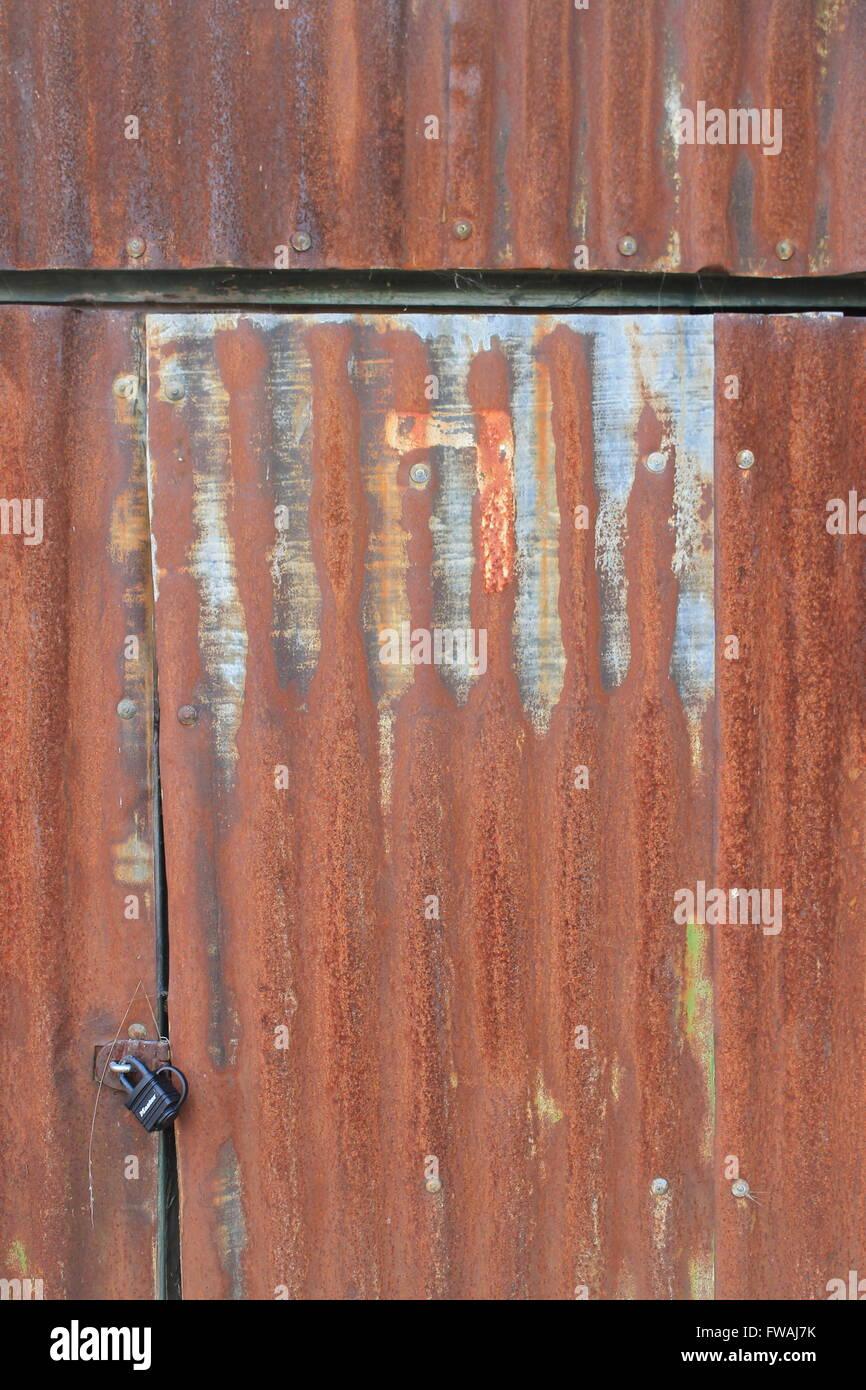 Rusty, corrugated sheet metal shed door and padlock - Stock Image