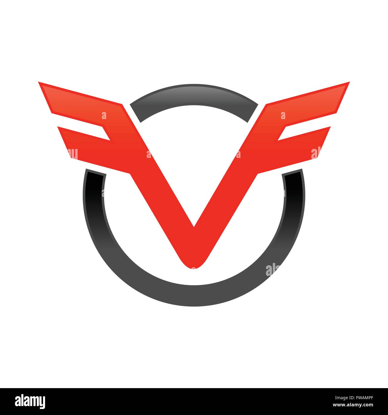 VF Initials Aviation Circle Mark Emblem - Stock Vector