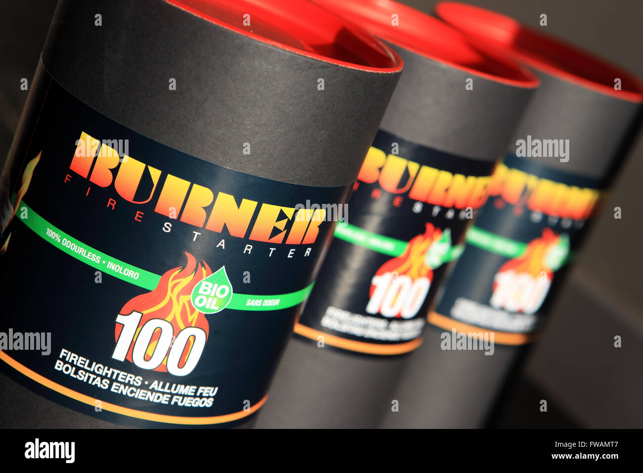 Tubs of Burner Fire lighters which are odourless - Stock Image