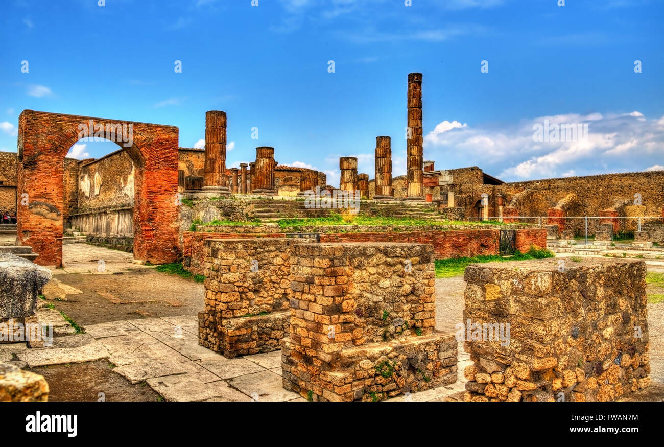 Temple of Jupiter in Pompeii - Italy Stock Photo