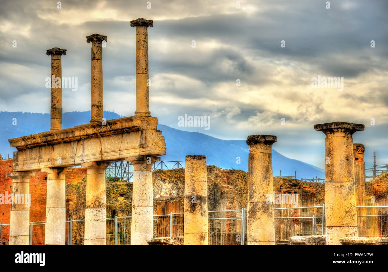 Ancient ruins of the Forum in Pompeii - Stock Image