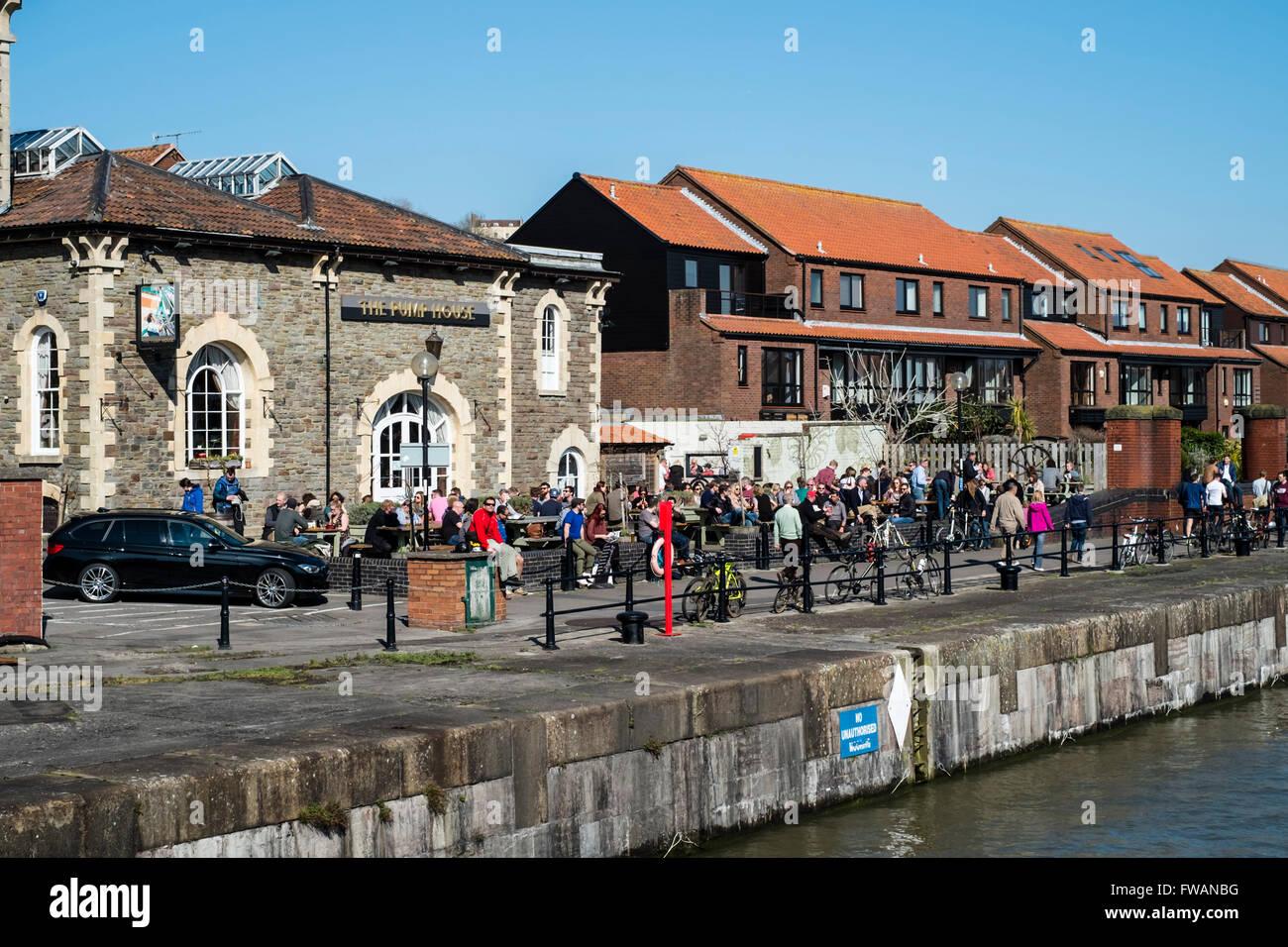 A walk around Bristol Harbour England UK The Pump House Pub Bristol harbour dining - Stock Image
