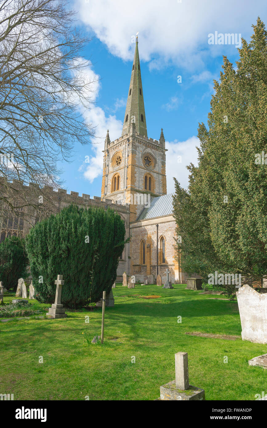 Holy Trinity Church, site of Shakespeare's tomb, in Stratford Upon Avon, England. - Stock Image