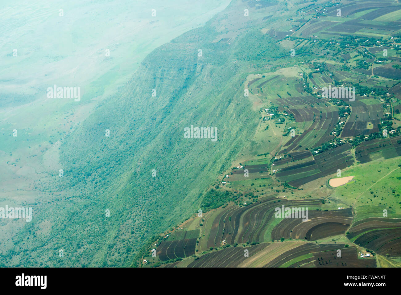 Aerial view of the eastern wall of the Great Rift Valley in Tanzania, photographed between Lake Manyara and Karatu. Stock Photo