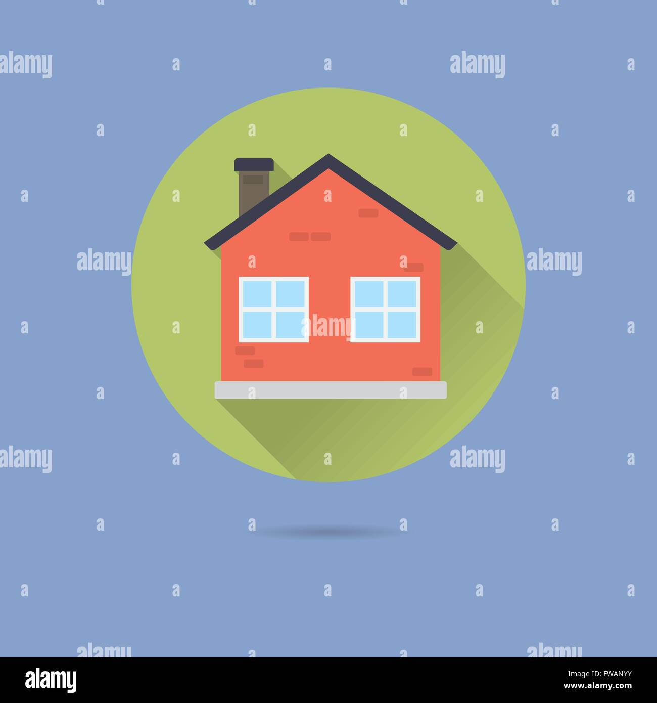 Small House Flat Design Long Shadow Vector Icon Stock Vector Art ...