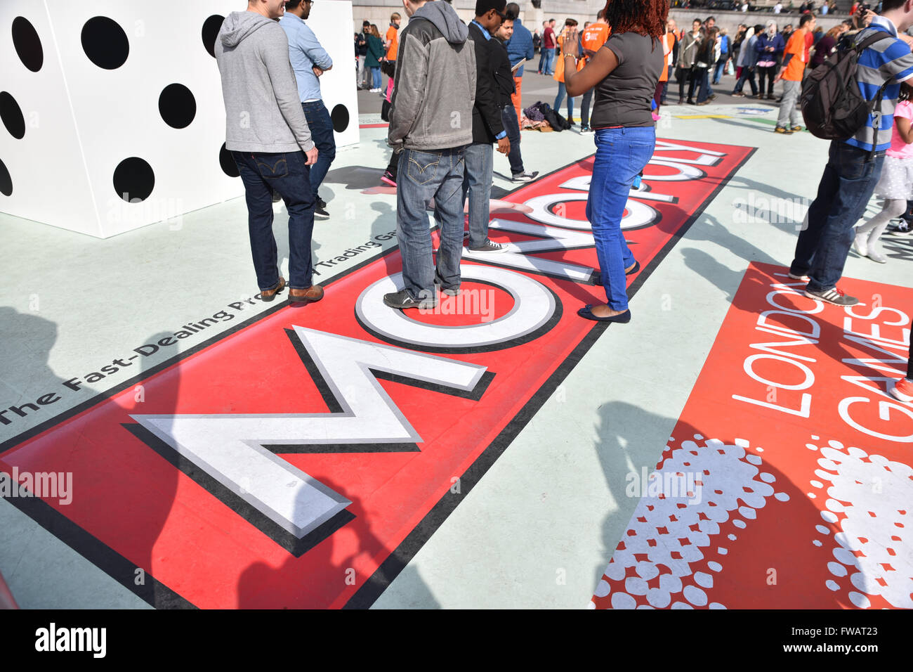 Trafalgar Square, London, UK. 2nd April 2016. Giant Monopoly board in Trafalgar Square as part of the London Games - Stock Image