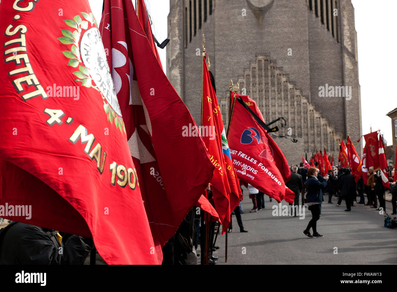 Copenhagen, Denmark, April 2nd, 2016. Flags from local party branches and trade unions are lined up at the road - Stock Image