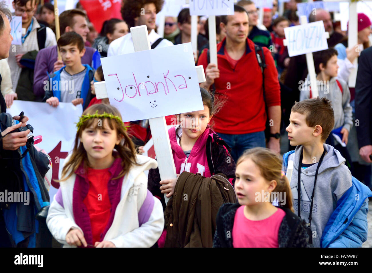 Prague, Czech Republic. 2nd April, 2016. Annual National March for Life - pro-life demonstration against abortion,organized - Stock Image