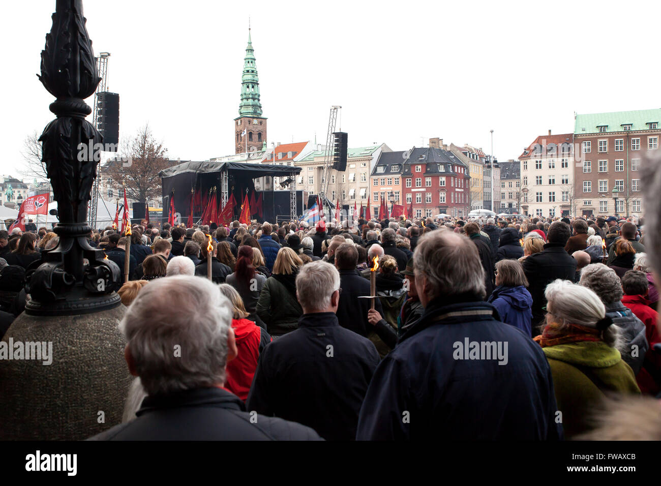 Copenhagen, Denmark, April 2nd, 2016. Many hundreds of people gather in front of the Danish Parliament, Christiansborg, - Stock Image