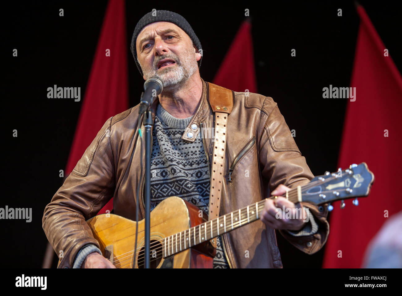 Copenhagen, Denmark, April 2nd, 2016. Musician Allan Olsen performs at the memorial gathering in Copenhagen on the - Stock Image