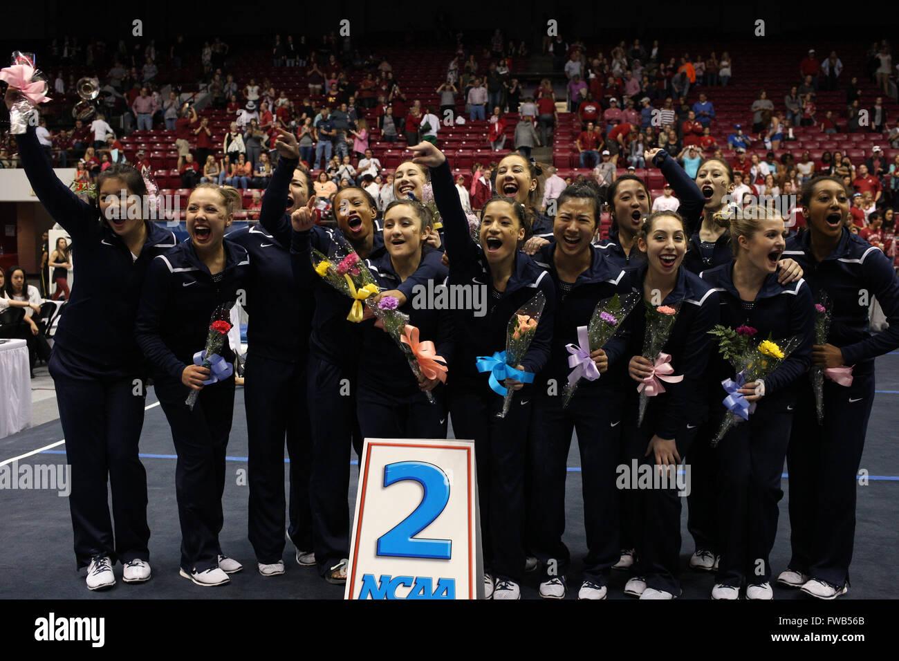 April 2, 2016: The University of California Berkeley gymnastics team celebrates at the NCAA Tuscaloosa Regional - Stock Image