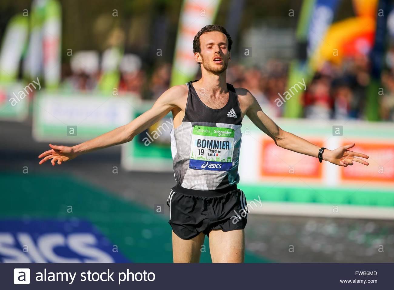 Paris,France. April 3rd, 2016. French Thierry Bommier passes the finish line of the 40th Paris Marathon, on April - Stock Image