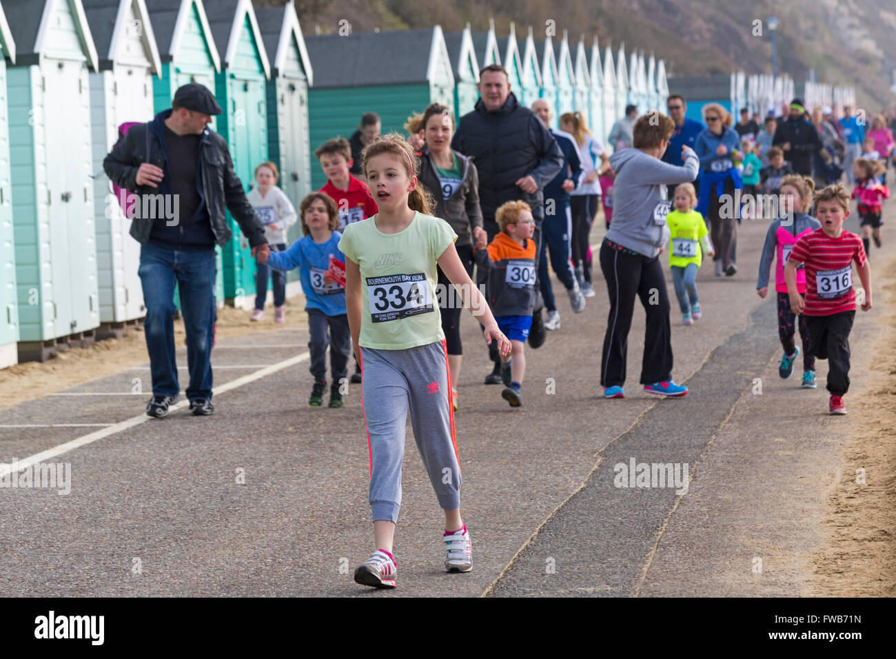 Bournemouth, UK 3 April 2016. Children taking part in the 1k children fun run/family friendly run, part of the Bournemouth - Stock Image