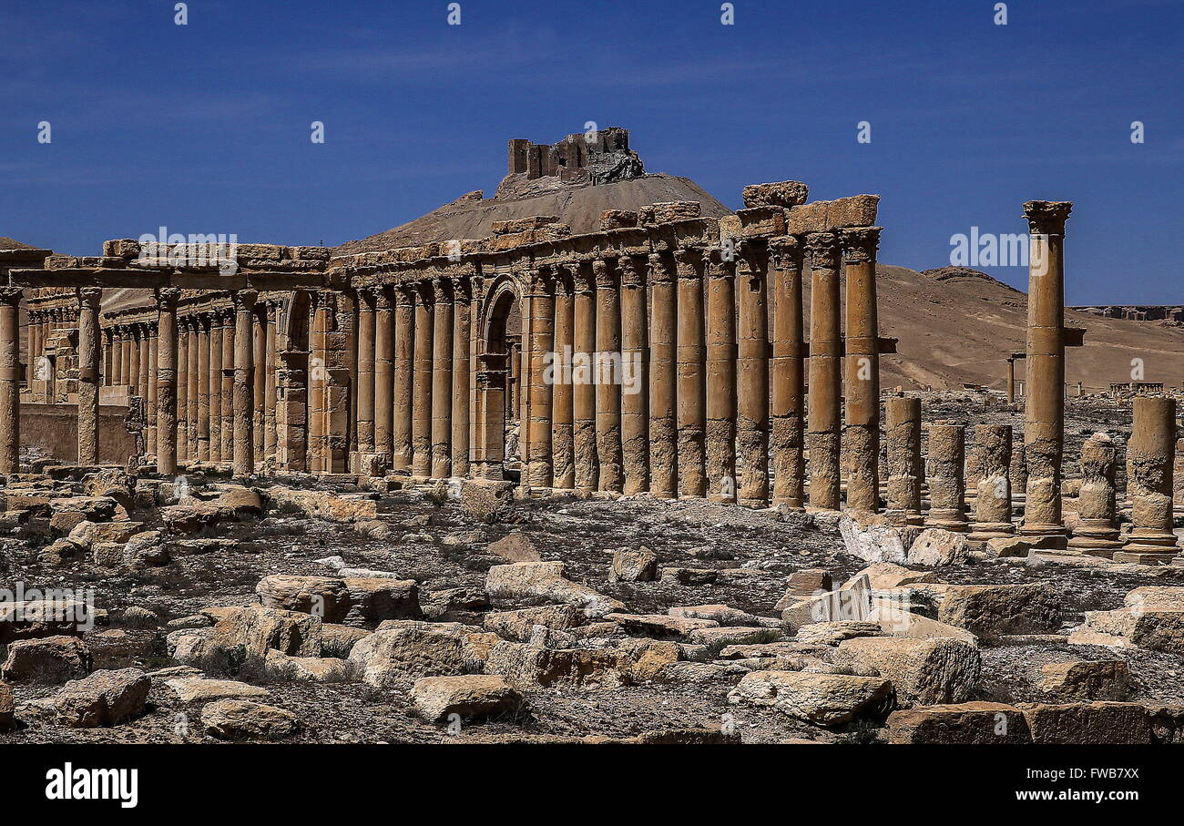 Palmyra, Syria. 3rd Apr, 2016. The Great Colonnade with Fakhr al-Din al-Maani Citadel in the distance in the ancient Stock Photo