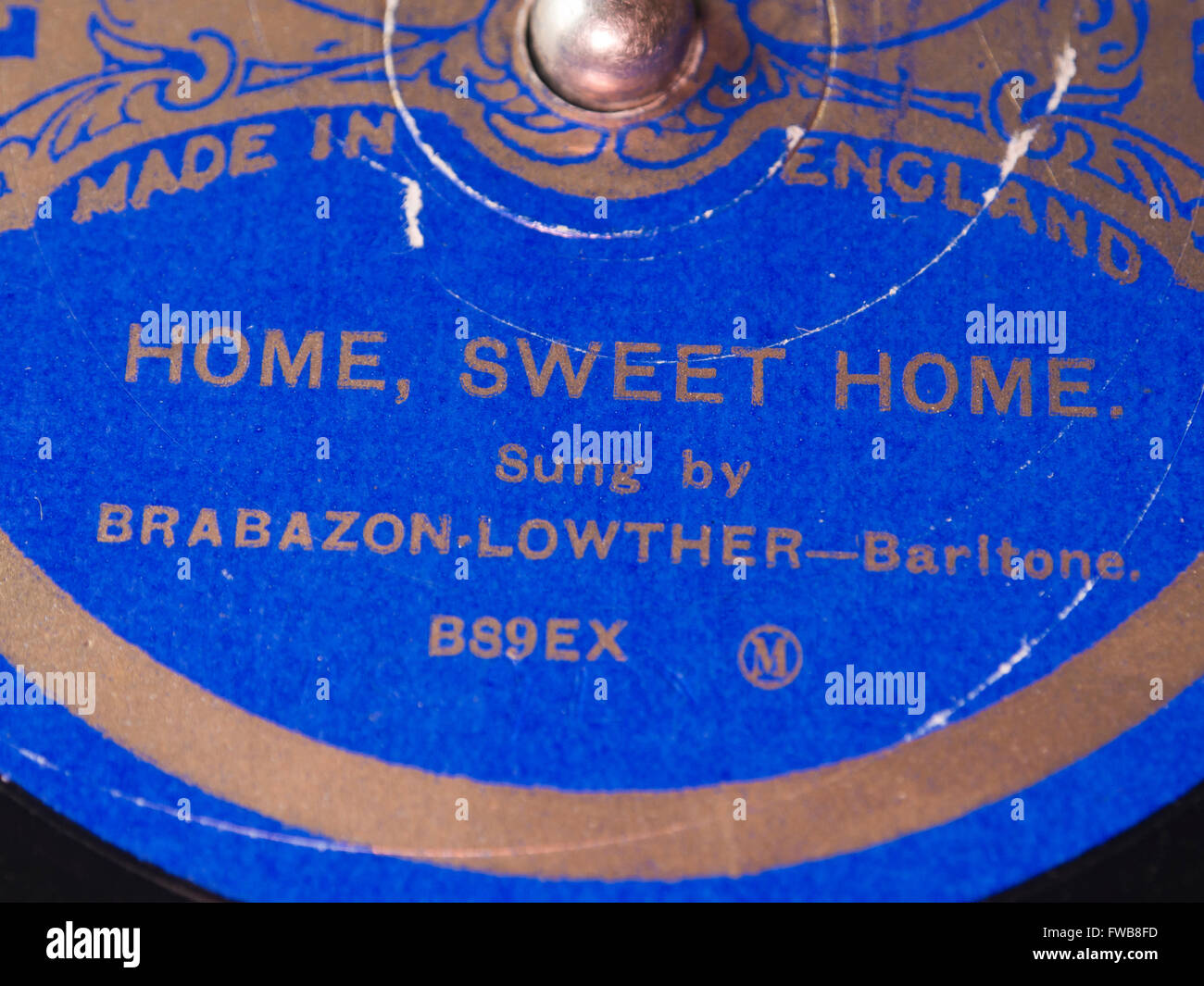 Linguaphone record language course, English songs, old shellac record 'Home sweet home' Brabazon Lowther - Stock Image