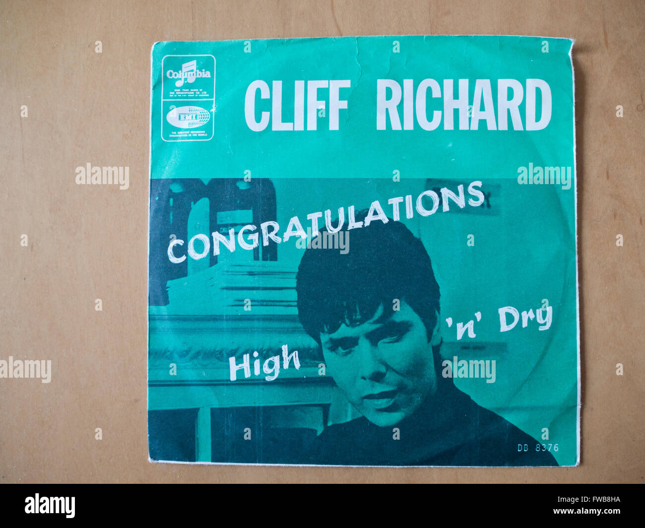 Cliff Richard, vintage record cover from single 'Congratulations'  British entry to the Eurovision Song - Stock Image
