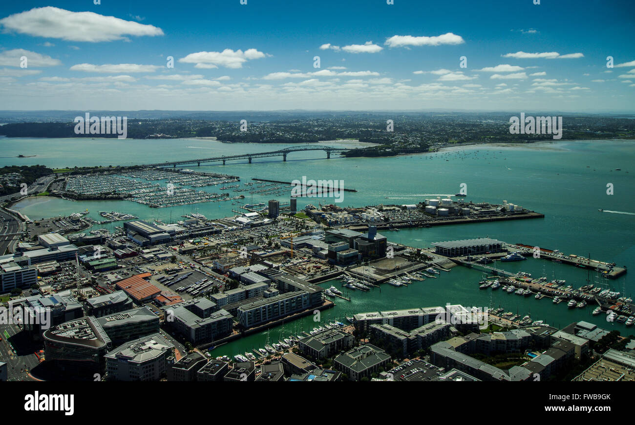 View of Auckland Harbour and Auckland Harbour Bridge from Sky Tower observation deck - Stock Image