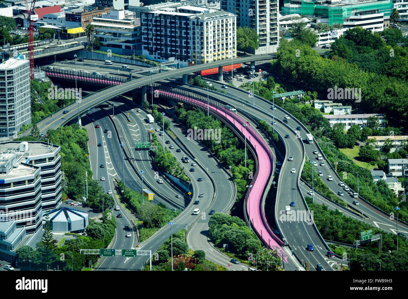 View of Nelson Street cycleway, named Te Ara I Whiti, which translates as the Lightpath, from Sky Tower observation - Stock Image