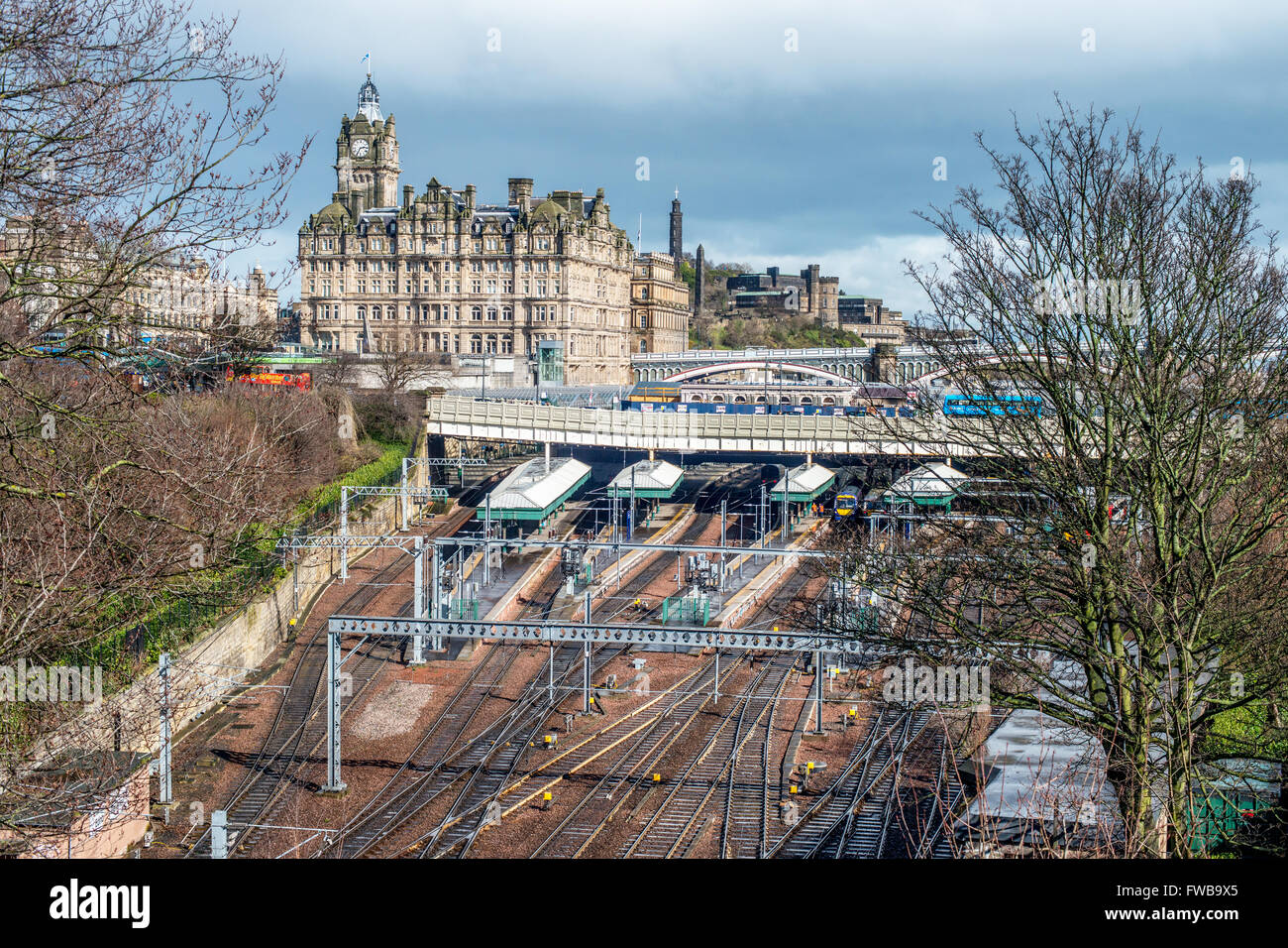 Tracks leading to Edinburgh Waverley railway station in Edinburgh, Scotland - Stock Image