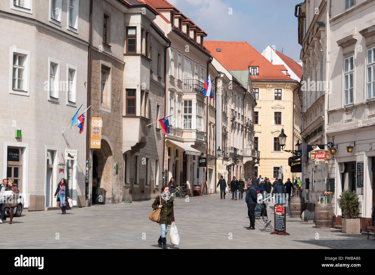Venturska street with the Academia Istropolitana on the left, Bratislava, Slovakia Stock Photo