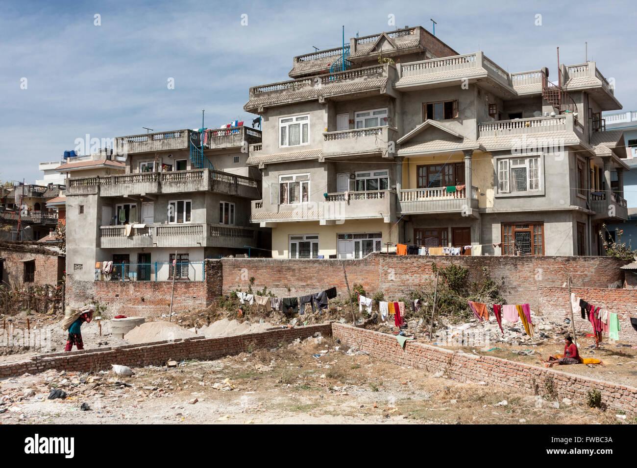 Bodhnath, Nepal.  New Multi-storied Housing. - Stock Image