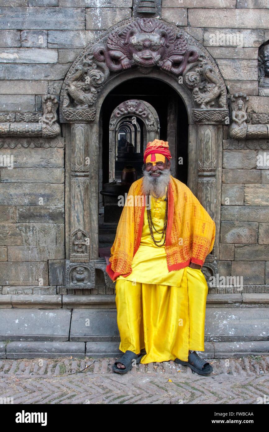 Pashupatinath, Nepal.  Sadhu (Holy Man) at Nepal's Holiest Hindu Temple. - Stock Image