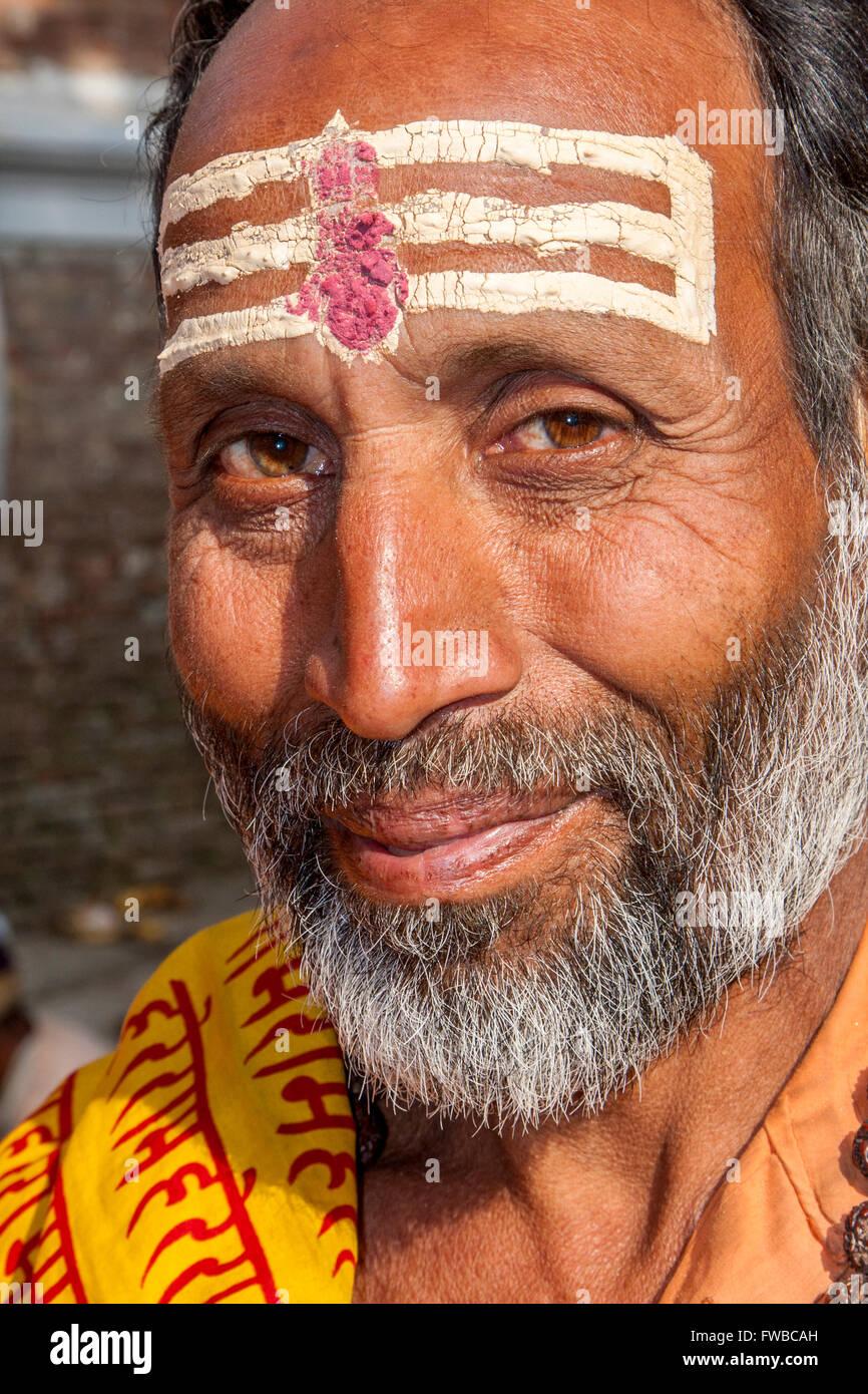 Nepal, Pashupatinath.  Hindu Sadhu (Ascetic). - Stock Image