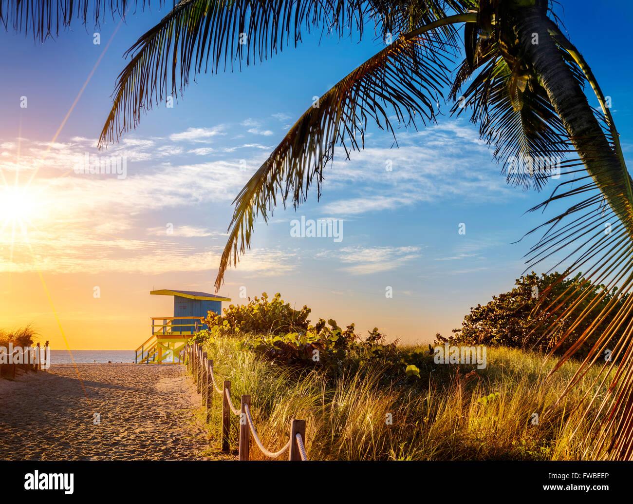 Colorful Lifeguard Tower in South Beach, Miami Beach, Florida, USA - Stock Image