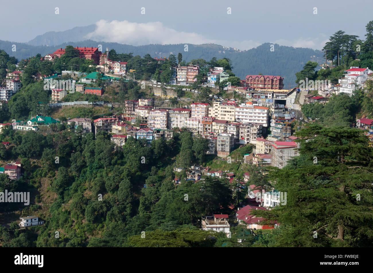 Houses on hillside, Shimla, Himachal Pradesh, India. - Stock Image