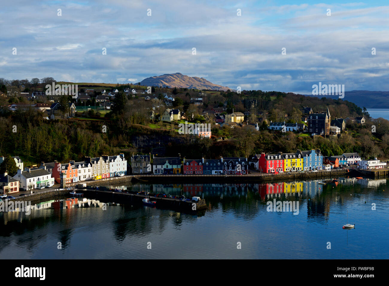 Colourful houses lining the harbour in the port of Tobermory,Isle of Mull, Inner Hebrides, Argyll and Bute, Scotland - Stock Image