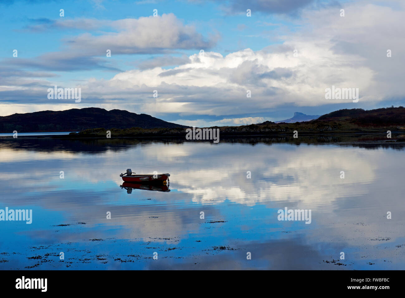 Dinghy moored in the bay, Loch nan Ceall, at Arisaig, Inverness-shire, Scottish Highlands, Scotland UK Stock Photo
