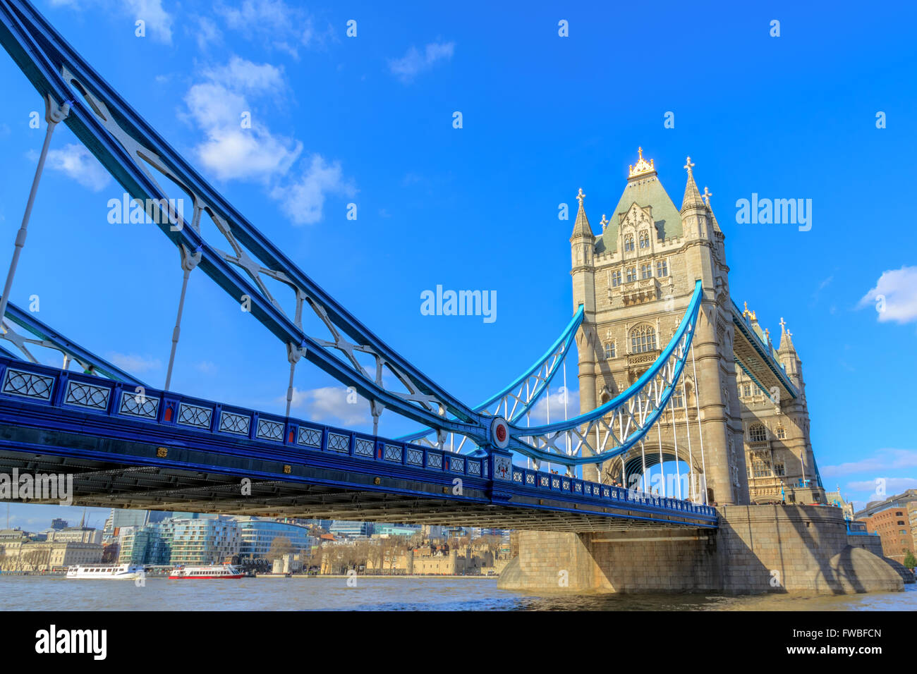 London Tower Bridge and River Thames from the north bank at day in the United Kingdom - Stock Image
