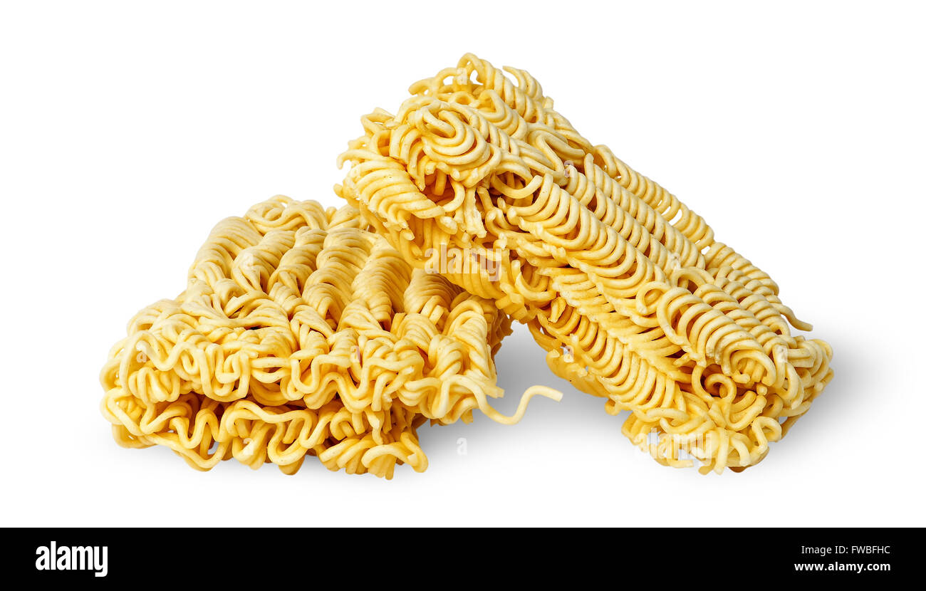 Two pieces noodles of fast preparation isolated on white background - Stock Image