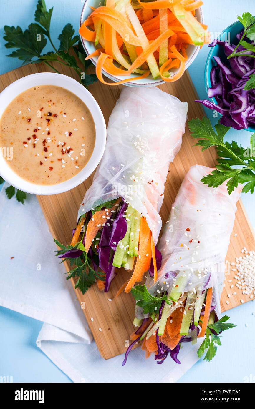 Portion of vegetarian spring rolls shot from above - Stock Image