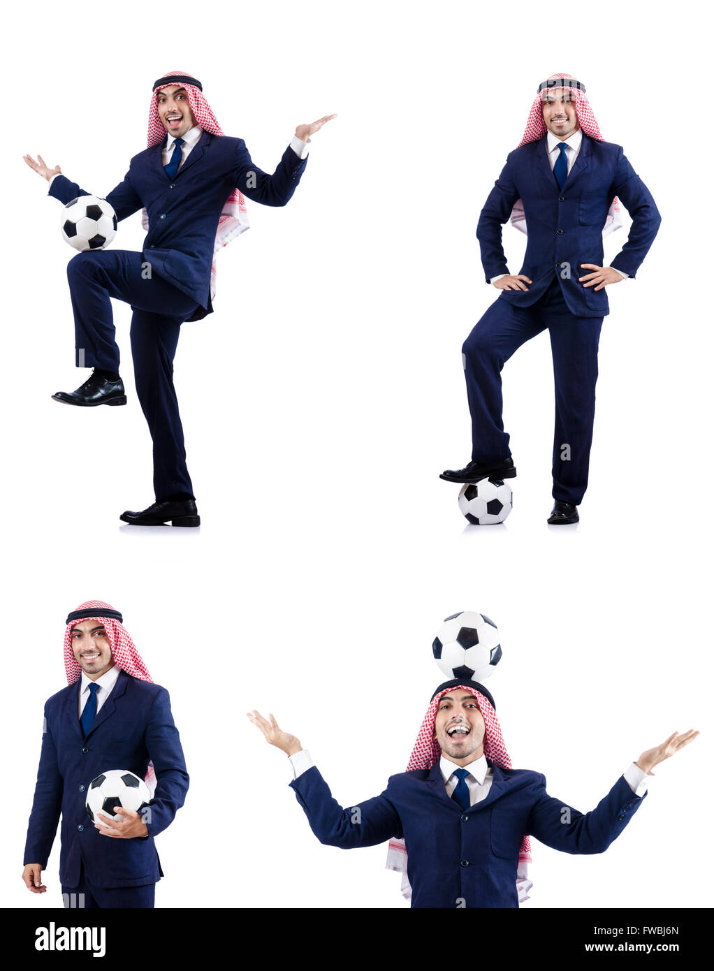 Arab businessman with football - Stock Image