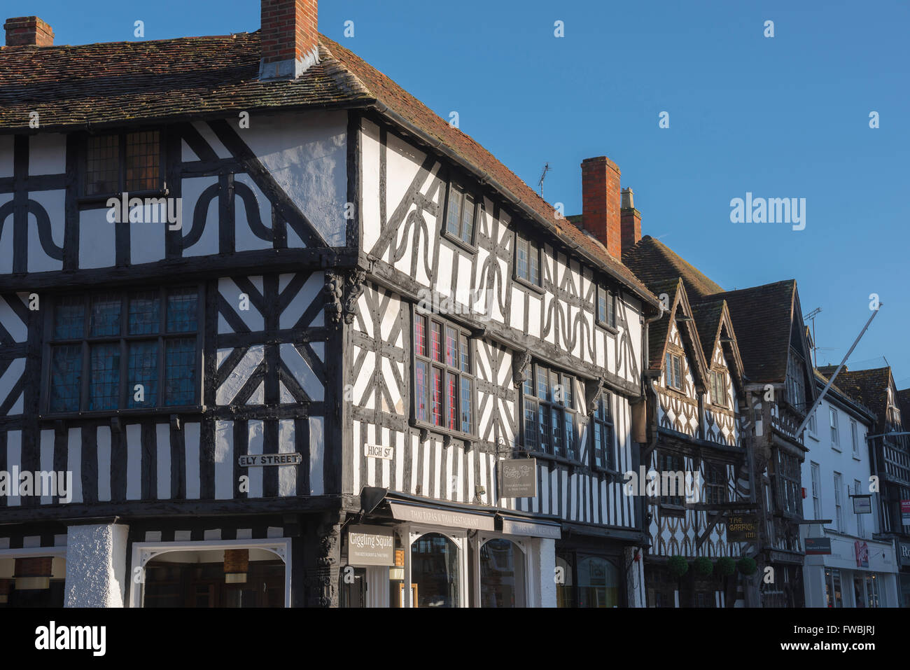 A typical medieval timber-framed building in the High Street, Stratford Upon Avon, England. - Stock Image