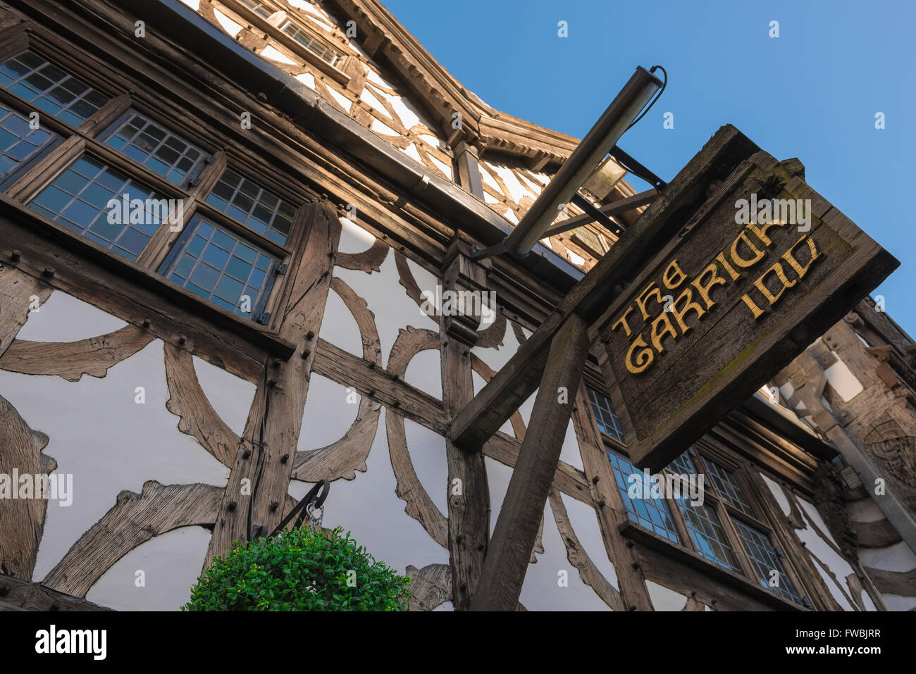 Detail of The Garrick Inn, a typical medieval timber-framed building in the High Street, Stratford Upon Avon, England. - Stock Image