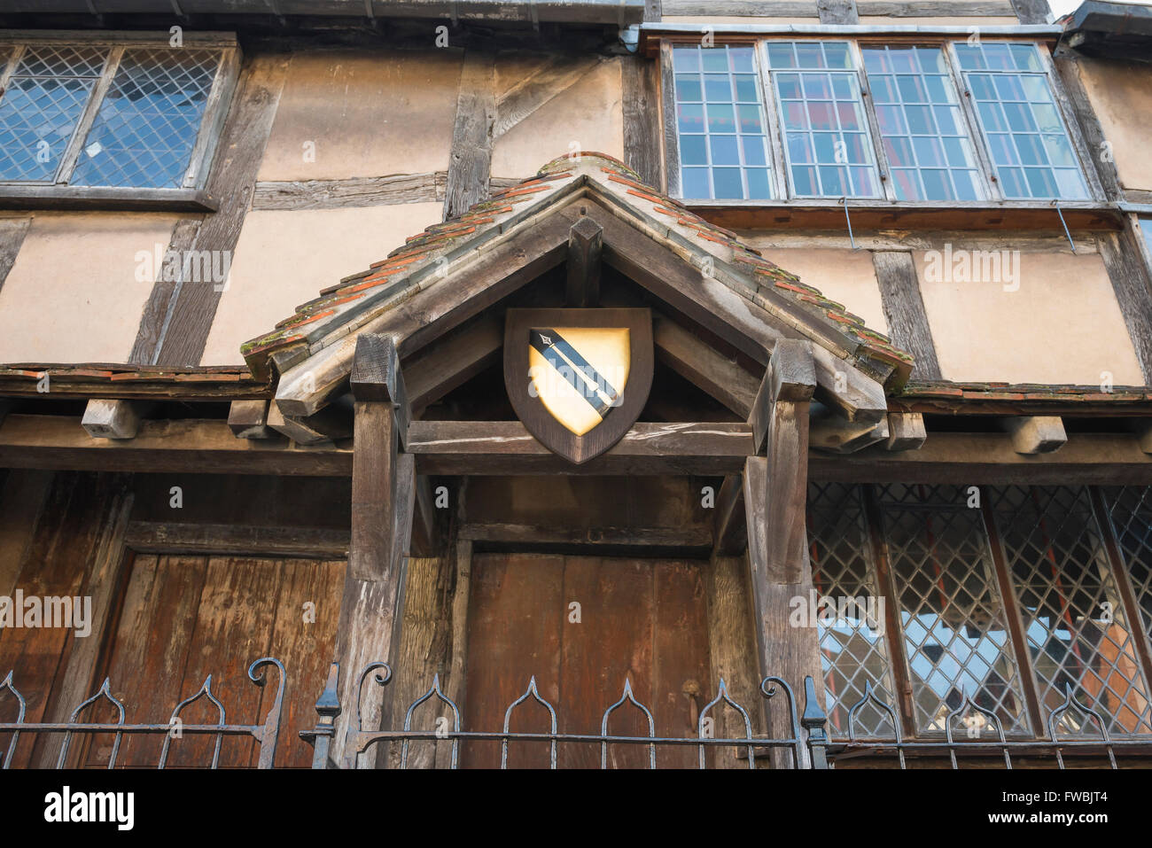 The Shakespeare crest sited in the porch of William Shakespeare's birthplace in Henley Street, Stratford Upon - Stock Image